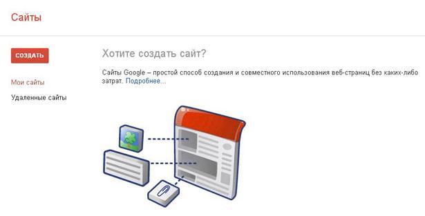 Создать сайт в google