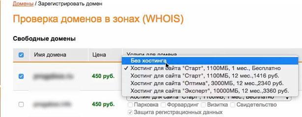 приобретение домена на webnames без хостинга