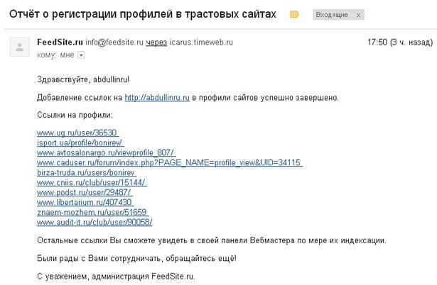 отчет feedsite