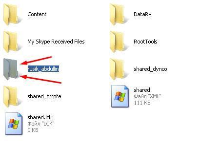 Папки с данными скайпа