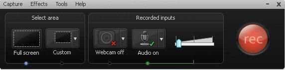 панель управления для записи видео в camtasia