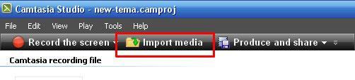 Загрузка медиа в camtasia