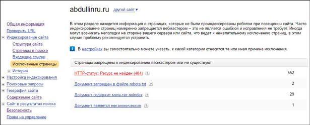 Исключенные страницы в вебмастере яндекса