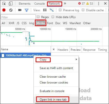 Поиск медиа файла в панели разработчика