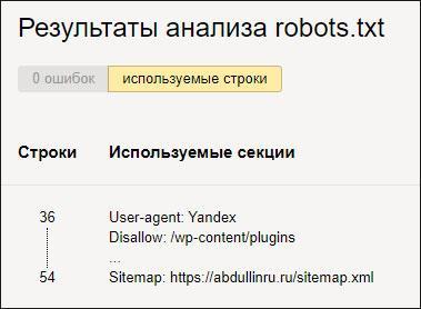 Результат проверки роботса
