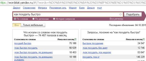 сервис подбора слов Яндекса
